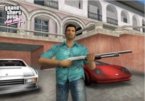 """Tommy Vercetti e, sullo sfondo, la sua villa ispirata al film """"Scarface"""""""